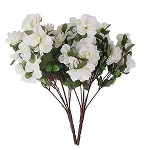 FidgetFidget Bunches Plastic Azalea Artificial Flowers Bouquet Wedding Home Decor White 12