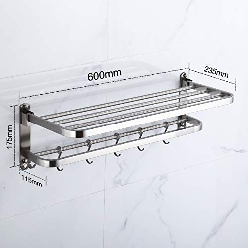 304 Stainless Steel Towel Racks for Bathroom with Double Towel Bars, 24-Inch Wall Mount Bath Rack Rustproof Double Layers Foldable Rail Shelves Bar with Hooks
