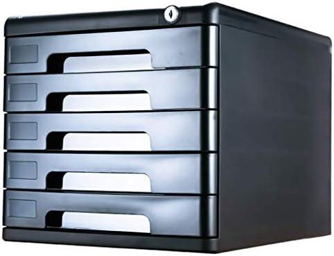 NMBD Bürozubehör Fünfgeschossige Schreibtischschublade Typ A4 Datei-Multi-Layer-Fach-Art-Briefpapier Schrank Tabelle mit Verschluss Schublade HUYP (Farbe: Schwarz) (Color : Black)