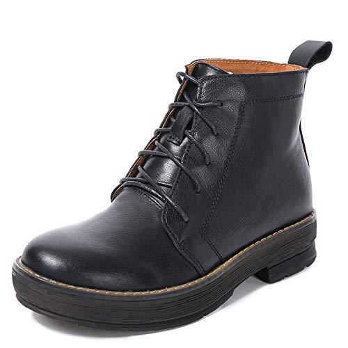 ZHRUI Martin Stiefel Damen Schnürschuhe Knöchel Leder Flache Schuhe (Farbe   Schwarz, Größe   EU 39)