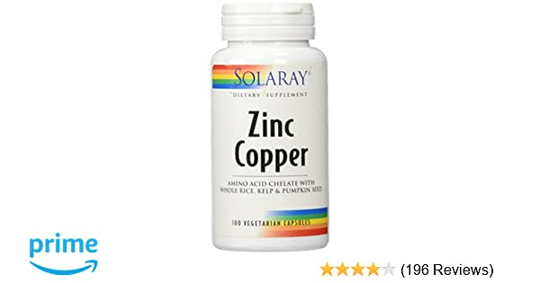 Amazon Com Solaray Zinc Copper 50mg 2mg 100 Capsules Health