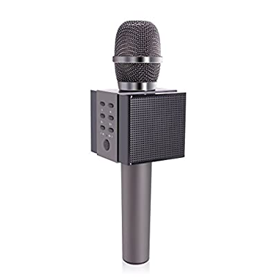 ?Latest Models?Tosing 008 Portable Wireless Karaoke Microphones Bluetooth Speaker 2 in 1 Mini Home KTV Playing and Singing Machine for iPhone/Android Smartphone/Tablet?Black?