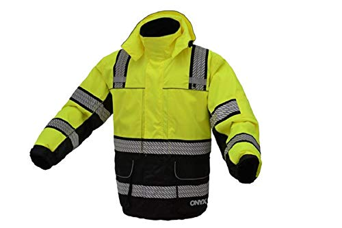 3-IN-1 Performance Winter Parka Jacket with Reflective Tape - Removable Safety Hi Vis Hoodie - High Visibility Jackets for Men or Women (Medium, Lime Yellow)