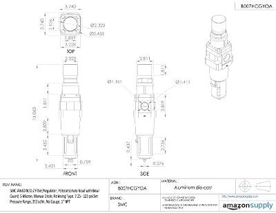"SMC AW60-N10-Z Filter/Regulator, Polycarbonate Bowl with Bowl Guard, 5 Micron, Manual Drain, Relieving Type, 7.25 - 123 psi Set Pressure Range, 353 scfm, No Gauge, 1"" NPT"