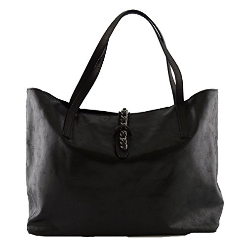 Shopper In Pelle Vera Con Zip E Bottone A Scatto Colore Nero - Pelletteria Toscana Made In Italy - Borsa Donna
