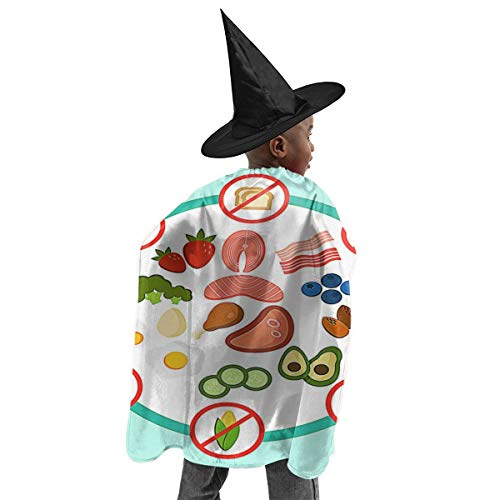 YUIOP Deluxe Halloween Children Costume Keto Diet Do's and Don'ts Wizard Witch Cloak Cape Robe and Hat ()