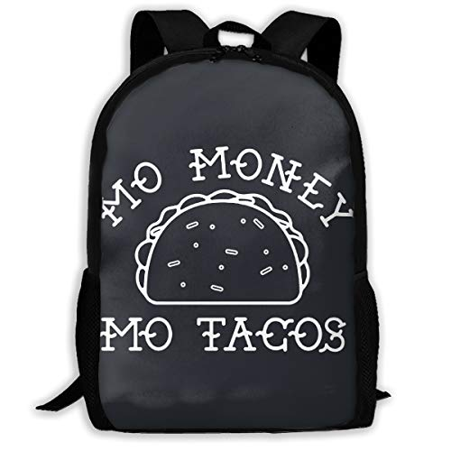 Mo Money Mo Tacos Waterproof School Backpack for Boys Girls Durable Casual Daypack Black