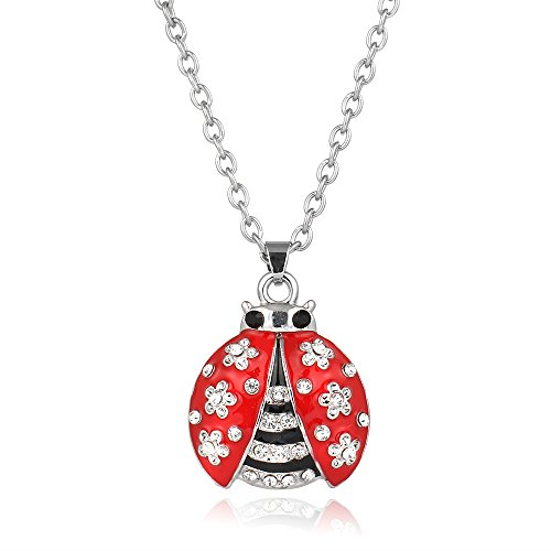 Liavy's Ladybug Charm Pendant Fashionable Necklace - Enamel - Sparkling Crystal - 17