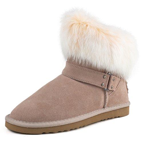 AUSLAND Women's Suede Leather Fur Short Snow Boot 9252 for cheap