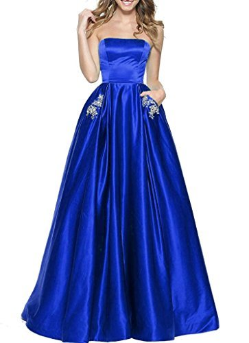 (BBCbridal Women's Strapless Beaded Prom Dresses Long A Line Satin Evening Dress Party Gowns with Pockets Royal Blue)