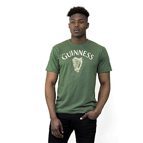 Guinness Men's Green Cotton Vintage Harp Label Short Sleeve T-Shirt