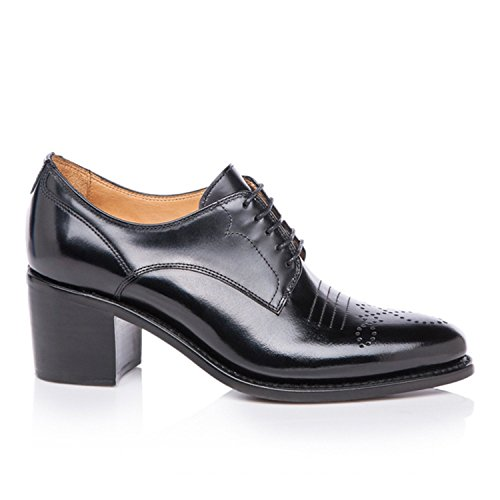 Miss Oxford Button Scott Office Leather Angela Black of The Heel Mid vxI1C4