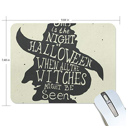 Mouse Pad Halloween Grungy Witch in Hat Quote