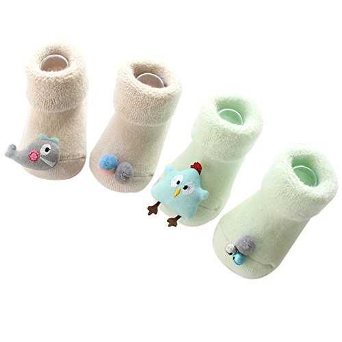 FQIAO Cute Animal Cotton Socks Anti-slip Warm Thinck Breathable Unisex 2 Pack Gift for Newborn And Baby-0-1 Year