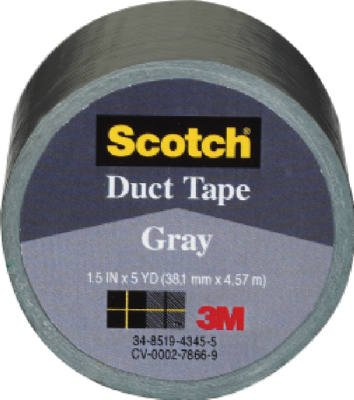 """3M Scotch 1005-WHT-CD Durable Waterproof Duct Tape, 5 yds Length x 1-1/2"""" Width, White"""