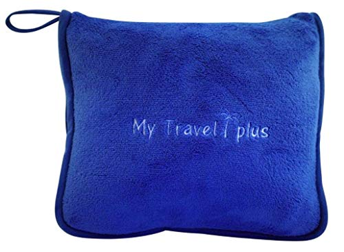 (Exclusive Light Weight Airplane Travel Blanket Portable Cozy-Soft 2 in 1 Microfleece Blanket and Pillow in Compact Bag, Best Comfort and Deluxe Feel Guaranteed! (Royal Blue))