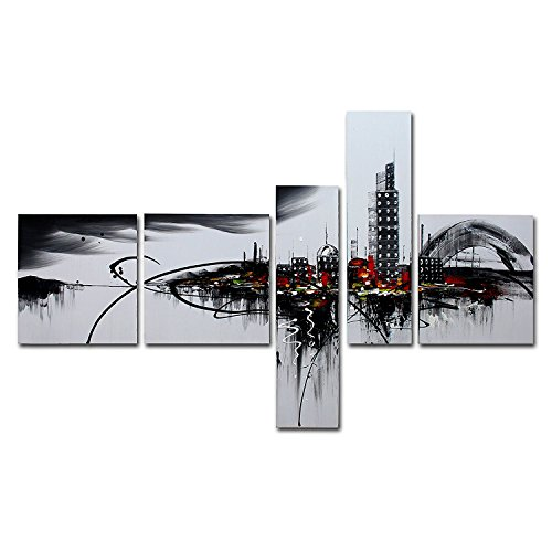 VASTING ART 5 Panel Oil Paintings Framed Canvas Wall Art, Hand Painted Modern Abtract Art Painting Cityscape Vivid Building Ready to Hang for Bedroom Living Room Wall Decor (Cityscape Painting)