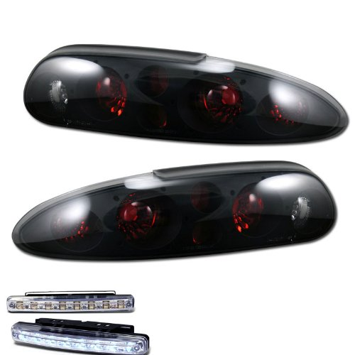 amazon com: 1993-2002 chevy camaro rear brake tail lights smoked lens+led  bumper running drl: automotive