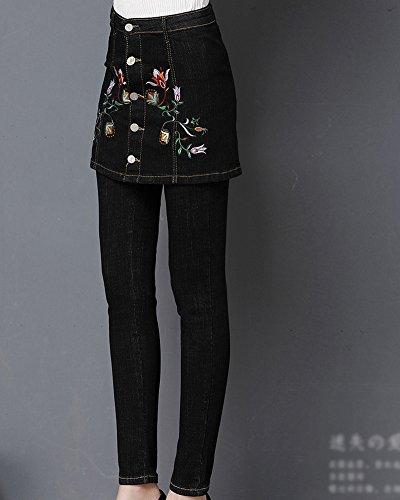 Pantaloni Delle Alta Nero Jeans Strappati Skinny Vita Donna tzgIFz