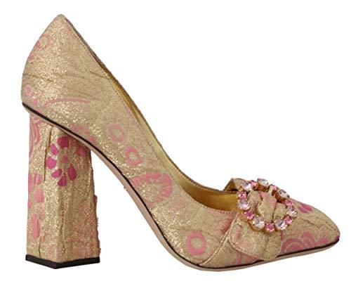 Dolce & Gabbana Pink Gold Floral Brocade Crystal Pumps (Dolce Und Gabbana Floral)