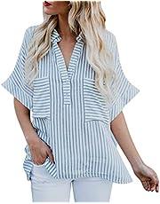Tosonse Camiseta para Mujer Bolsillo Cuello En V Tops De Yoga Blusa Tanques Camisas con Botones De Primavera Camiseta De Manga Corta A Rayas Túnica