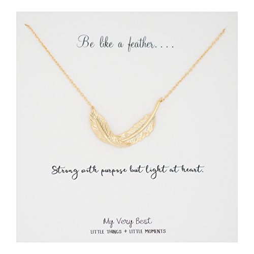My Very Best Be Like a Feather Boho Necklace (gold plated brass)