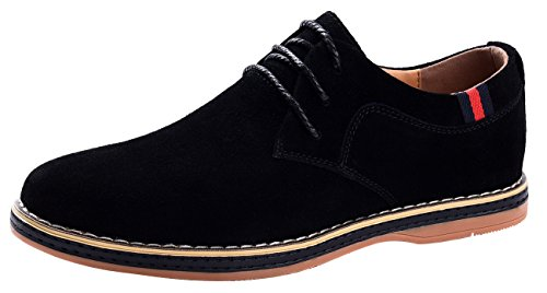Vancilin men's Casual Suede Leather Dress Working shoes Fashion Lace-Up Oxford Shoes(Van2008Black41) by VanciLin
