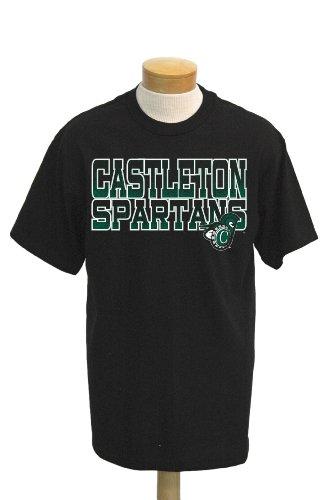 NCAA Castleton State Spartans Men's Acho Short Sleeve T-Shirt (Black, X-Large)
