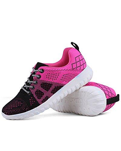 Zapatos Transpirable Colorido Universidad Viajes Aire Malla Mujeres Libre de Cordones Amortiguador Rosa Al de Superior con Zapatos Adolescentes Running de Aire Negro La 4nfHnY