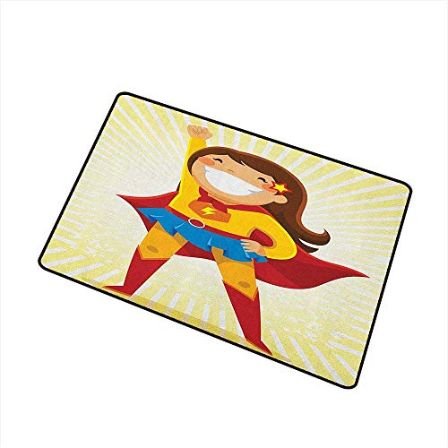 Superhero Indoor Doormat Courageous Little Girl with a Big Smile in Costume Standing in a Heroic Position Easy Clean Rugs 24