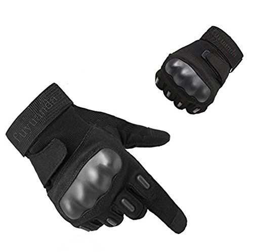 Tactical Gloves, Fuyuanda Men`s Full Finger Hard Knuckle Protective Gear Gloves for Motorcycle Shooting Riding Cycling Biking Paintball Racing Black Large