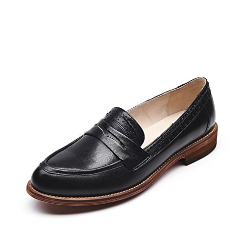 Honingwinkel Dames Retro Brogue Carving Penny Loafer Lederen Flats Schoenen Zwart