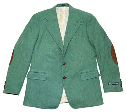 (Ralph Lauren Polo Men Wool Tweed Suede Blazer Sport Coat Jacket Italy Green 42L)