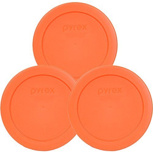 "Pyrex Orange 2 Cup 4.5"" Round Storage Cover #7200-PC for Glass Bowls - 3 Pack"