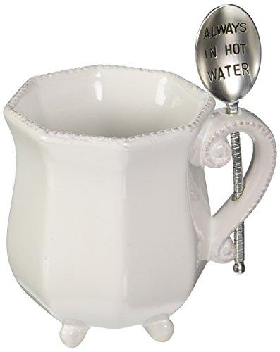 Mud Pie 4351002H Tea Mug Set with Spoon always in Hot Water, (Beaded Pie)