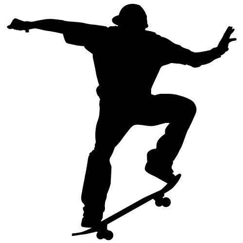Skateboarding Wall Decal Sticker 23 - Decal Stickers and Mural for Kids Boys Girls Room and Bedroom. Skating Wall Art for Home Decor and Decoration Ð Skate Board Silhouette Mural