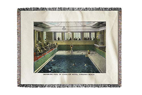 Virginia Beach, Virginia - Interior View of The Cavalier Hotel Swimming Pool 25895 (60x80 Woven Chenille Yarn Blanket)