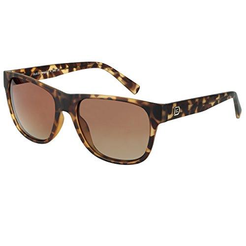 DUCO Classic Polarized Acetate Sunglasses for Men and Women 2145 (Matte Tortoise Frame Gradient Brown Lens)