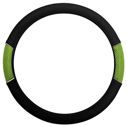 UKB4C Green Black Steering Wheel Cover Soft Grip Mesh Look for Vauxhall Corsa Hatchback