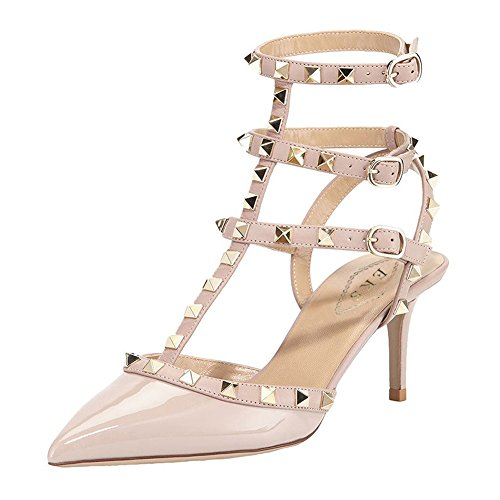 Strappy 5cm Heel Toe Party Height Sandals Heels Pump Stilettos Women's With 6 Pointed Dress Rivets Apricot EKS Straps wqXFCZa1