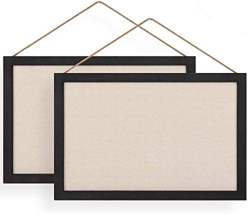 Emfogo 16×11 Wood Bulletin Boards with Linen Wall Bulletin Board for Home Kitchen Office Decorative Hanging Pin Board Frame Cork Board Light Bulletin Boards for Bedroom Pack of 2 (Vintage Black)