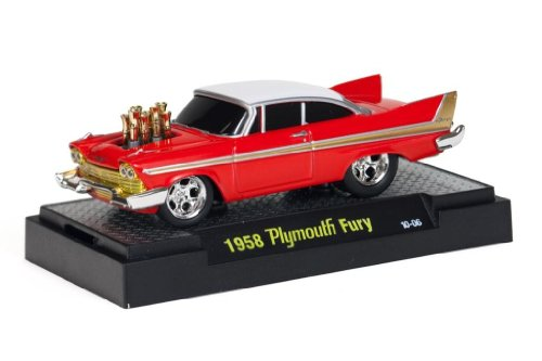1958 Plymouth Fury (Red & White) * M2 Machines Ground Pounders Release 2 * 2010 Castline Premium Edition 1:64 Scale Die-Cast Vehicle - Fury Set Plymouth