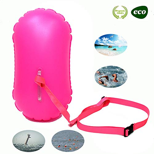 E-Onfoot Swim Float and Drybag for Open Water Swimmers and Triathletes, Highly Visible Bouy Float Air Bag for Safty Swim Training (Rose ()