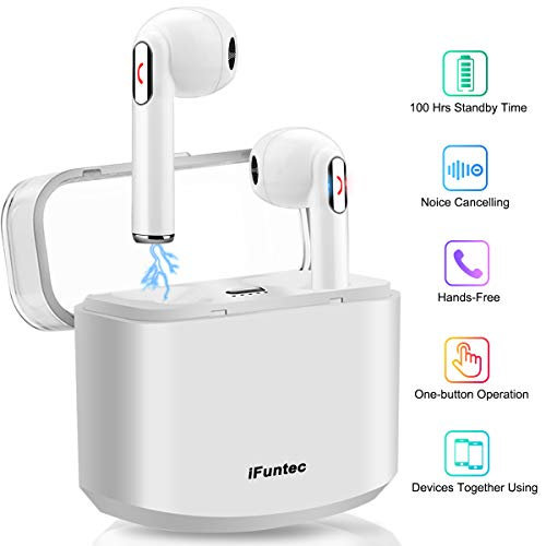 Wireless Earbuds Stereo Bluetooth Headphones with Charging Case Mini in-Ear Earphones Built-in Mic Noise Canceling Sweatproof Sports Wireless Headphone Bluetooth Earbud