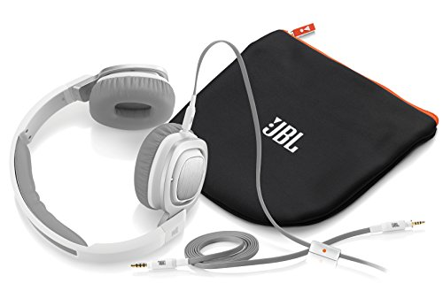 JBL J55a WHT High Performance On Ear Headphones with JBL Drivers, Rotatable Ear Cups and Microphone, White