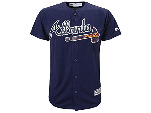 Majestic Atlanta Braves Blank Navy Blue Youth MLB Cool Base Replica Alternate Jersey (Large 14/16)