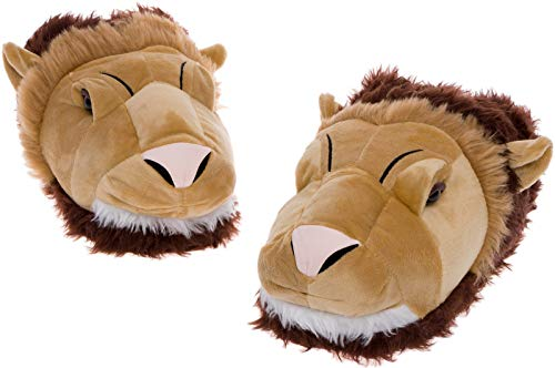 Silver Lilly Lion Face Slippers - Plush Novelty Animal House Shoes w/Comfort Foam (XL) -