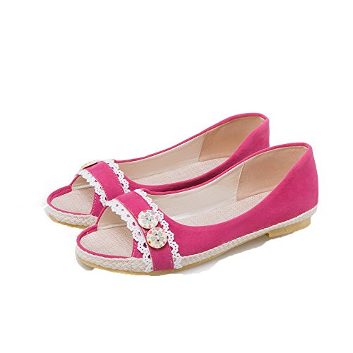 Open EGHLG004791 Pink Materials Women's on Heels Toe Low Pull WeiPoot Sandals Blend vFHAt