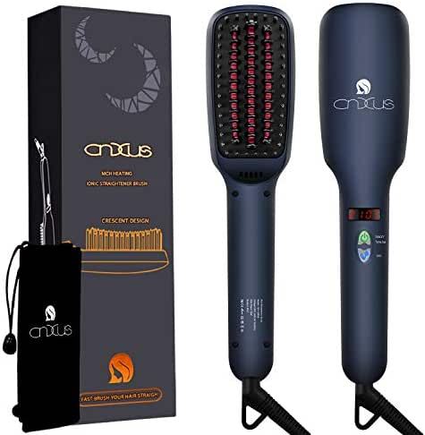 Ionic Hair Straightener Brush, CNXUS MCH Ceramic Heating + LED Display + Adjustable Temperatures + Anti Scald Hair Straightening Brush, Portable Frizz-Free Hair Care Silky Straight Heated Comb