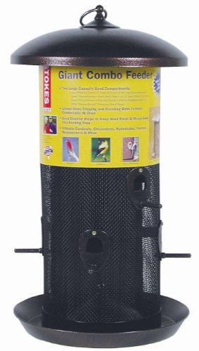 (Stokes Select Bird Feeder, Giant Combo Outdoor Bird Feeder, 2 Seed Compartments, Large Seed Capacity, 8 lb, Black Finish)